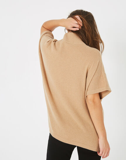 Passiflore camel cashmere cape with polo neck (2) - 1-2-3