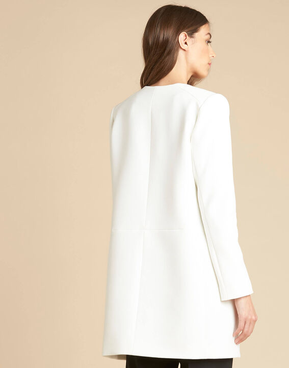 Kaya white straight-cut 3/4 length dress with zip detailing (4) - 1-2-3