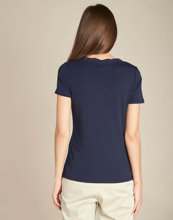 Evidence navy blue T-shirt with eyelets on the neckline (4) - 1-2-3