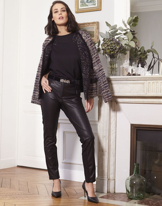 Tee-shirt noir brodé à sequins Grazie (2) - Maison 123