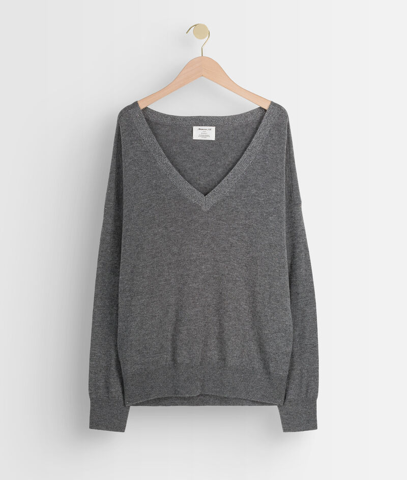 Pull en laine et cachemire recyclés gris foncé Tarah PhotoZ | 1-2-3