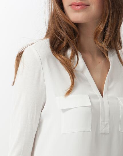 Ecrufarbenes T-Shirt im Materialmix Leden (5) - 1-2-3