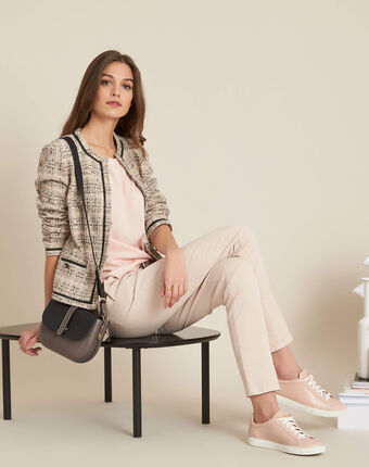 Guillem nude blouse with bow at the back salmon.