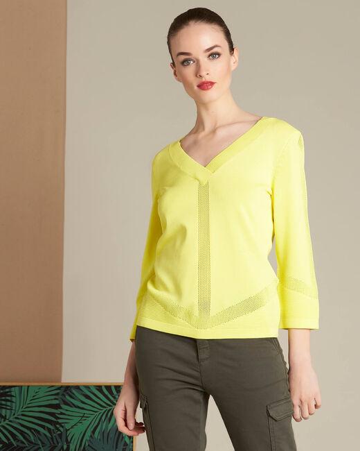 Gelber Pullover mit V-Ausschnitt und Zierstichen Nymphette (2) - 1-2-3