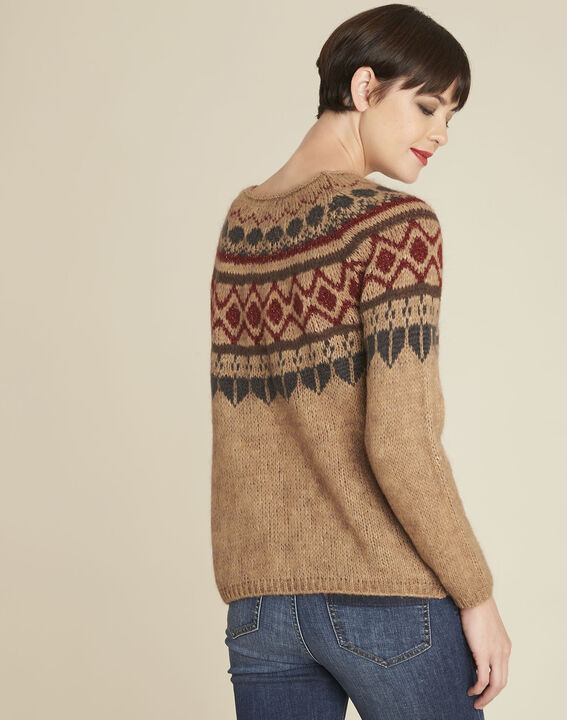 Balzac camel mohair pullover with decorative motif (4) - 1-2-3