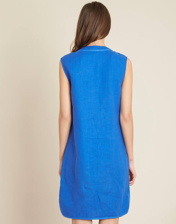 Pim light blue straight-cut linen dress (4) - 1-2-3