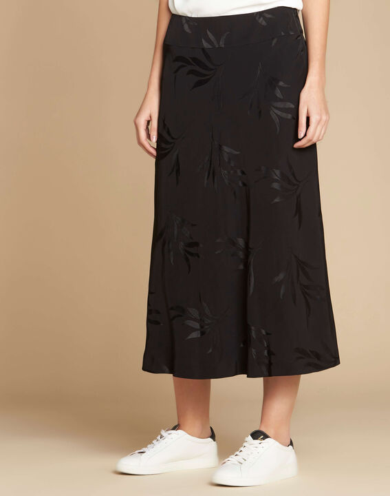 Frost leaf printed black skirt (3) - 1-2-3