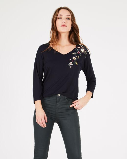 Tee-shirt marine brodé fleurs Bleuet (1) - 1-2-3