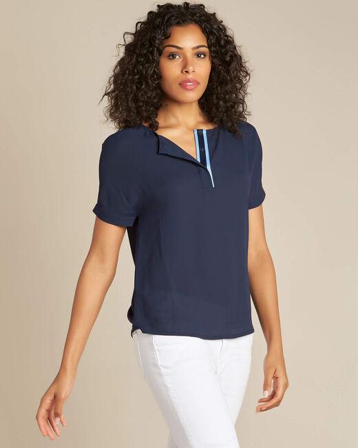 Marineblaue Bluse mit kontrastierendem Ausschnitt Garry (2) - 1-2-3