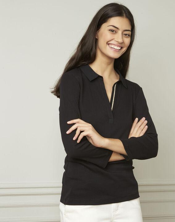 Schwarzes T-Shirt mit V-Ausschnitt aus Lurex Primerose (1) - Maison 123