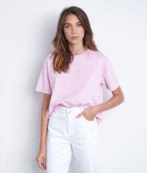 Tee-shirt en coton bio et col strassé parme Inox