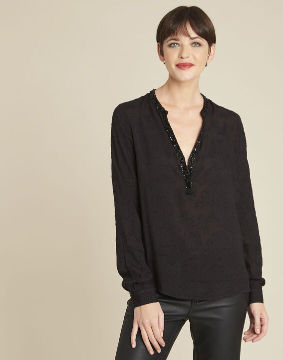 Chayotte black devore blouse with jewelled neckline PhotoZ | 1-2-3