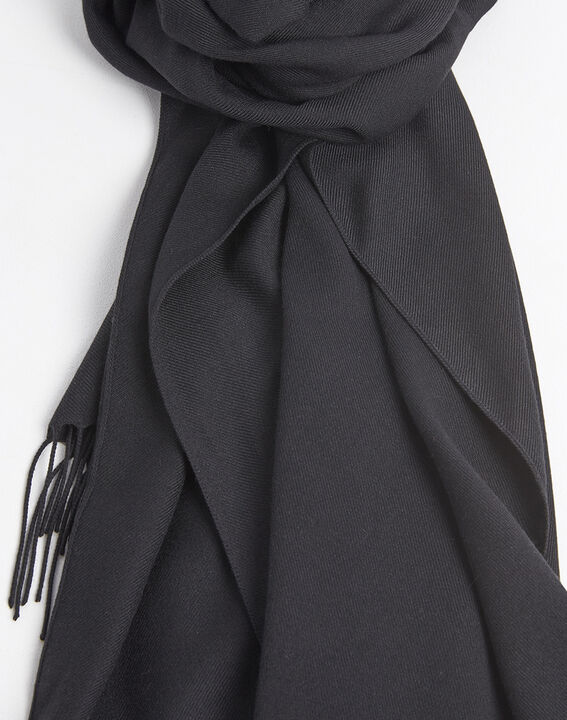 Fossette fringed black scarf (2) - 1-2-3
