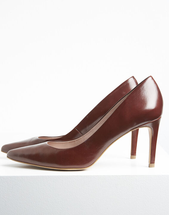 Escarpins marrons bout pointu en cuir Kelly (3) - 1-2-3
