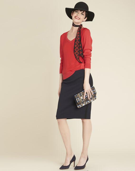 Rode trui met V-hals van katoen en zijde Bliss (2) - 37653
