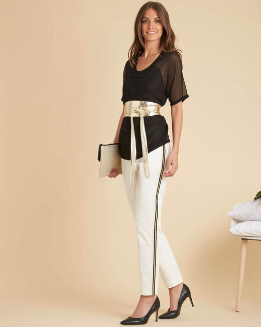 Francis white tapered trousers with side band (1) - 1-2-3