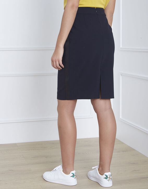 Fancy navy blue straight-cut skirt in microfibre (4) - 1-2-3