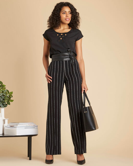Valou slinky black trousers with stripes (1) - 1-2-3