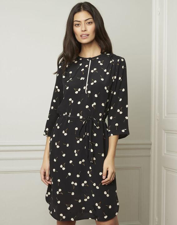 Schwarzes Kleid mit Kirschmuster, aus Viskose Linda (1) - Maison 123