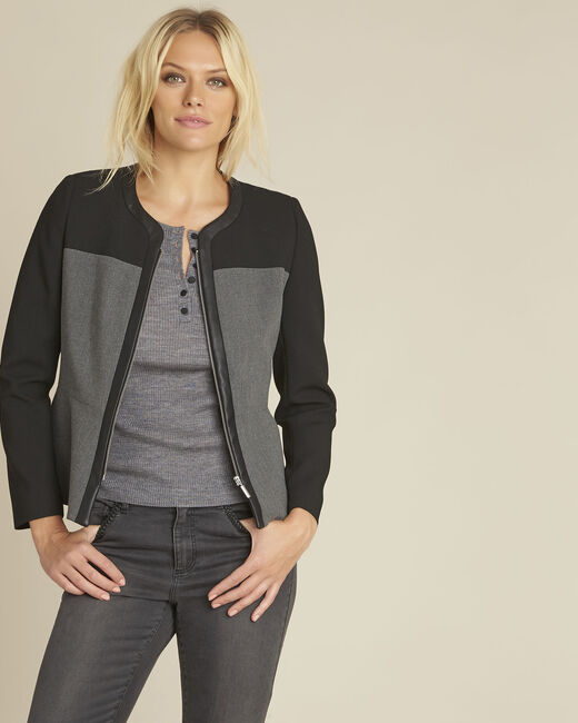 Silex compact black jacket with faux leather panel (2) - 1-2-3