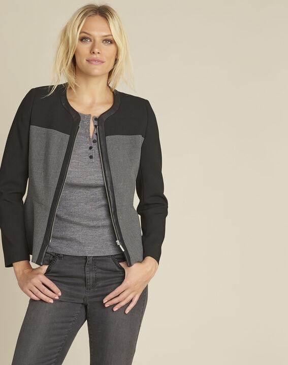 Veste noire compacte empiècement faux cuir Silex PhotoZ | 1-2-3