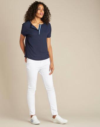 Marineblaue bluse mit kontrastierendem ausschnitt garry marineblau.