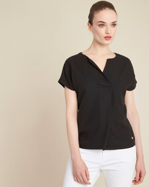 Gaia V-neck black dual-fabric top (2) - 1-2-3