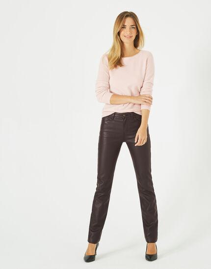 Petunia powder pink, cashmere sweater with round neck (4) - 1-2-3