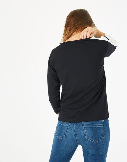 Tee shirt bleu marine manches fantaisies Bico (5) - 1-2-3