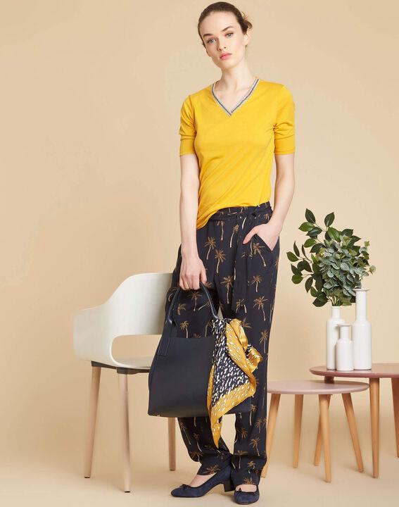 Tee-shirt jaune encolure fantaisie Eshine (2) - 1-2-3