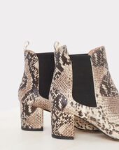 Nola snake skin effect leather ankle boots white.