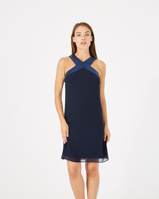 Robe bleu encre détails sequins Gala (1) - 1-2-3