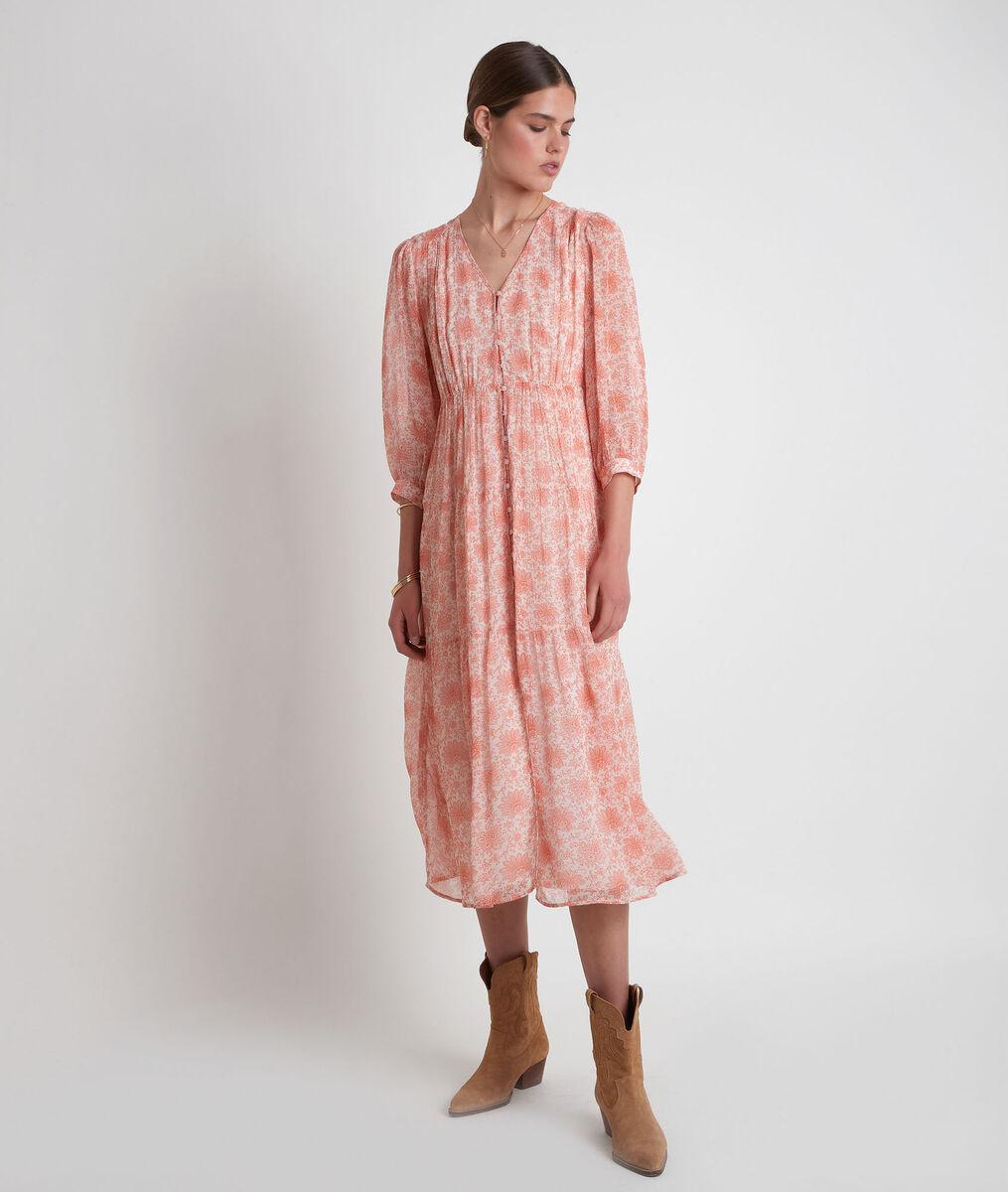 Robe longue vaporeuse imprimé pêche Souad PhotoZ | 1-2-3