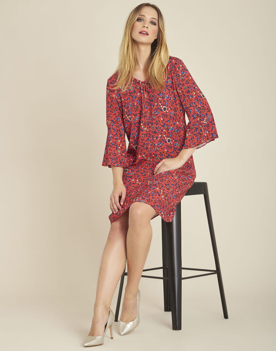 Deborah pink printed dress with lacing and pagoda sleeves (3) - 1-2-3