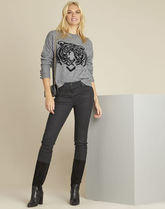 Pull gris imprimé tigre bonobo chine moyen.