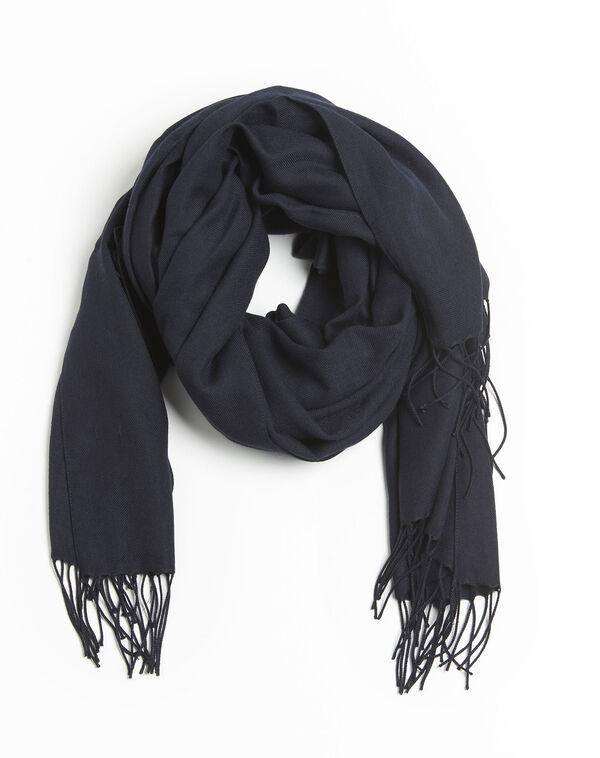 Donkerblauwe sjaal met franjes Fossette (2) - 37653