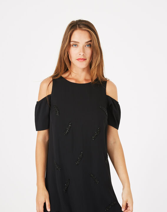 Robe noire détails brodés Gypsy (3) - 1-2-3