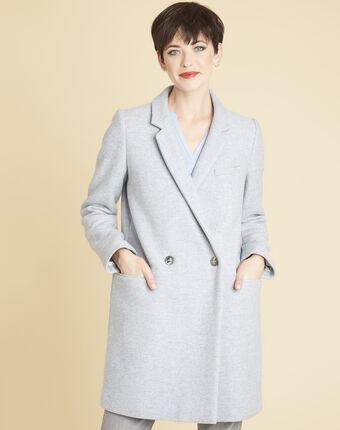 Azurblauer 3/4-mantel aus wolle eclat himmelblau.