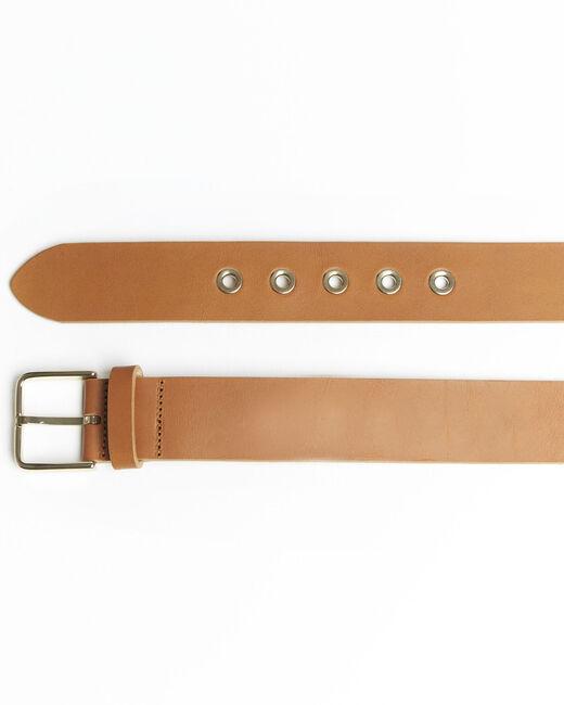 Brauner Ledergürtel mit goldfarbener Schnalle Quincy (1) - 1-2-3