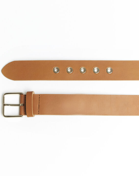 Quincy brown leather belt with a gold tone buckle (2) - 1-2-3