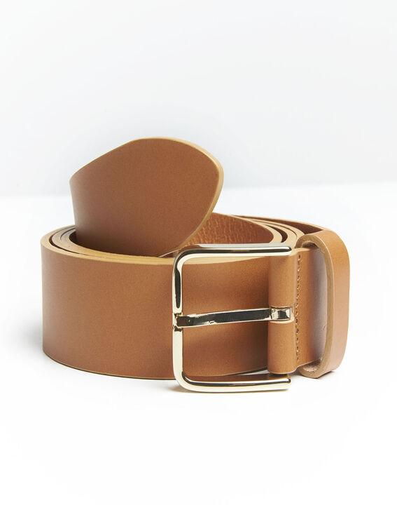 Brauner Ledergürtel mit goldfarbener Schnalle Quincy PhotoZ | 1-2-3