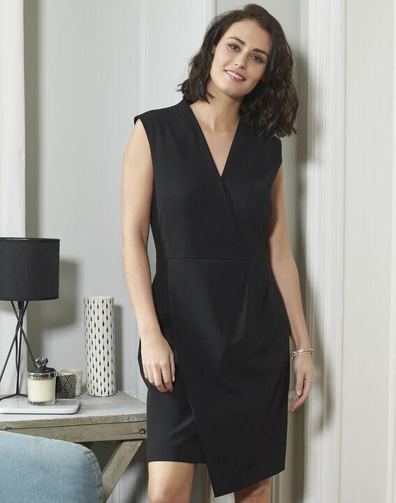 Zwarte jurk uit crêpe Dafne (2) - 37653