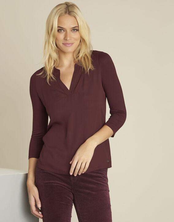 Bianca Bordeaux bi-material blouse with a V-neck PhotoZ | 1-2-3