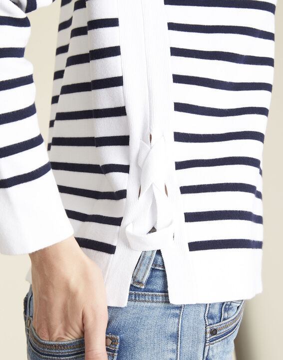 Boat white striped sweater with lacing on the side (3) - 1-2-3