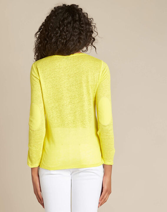Elin lemon long-sleeved T-shirt in linen. (4) - 1-2-3