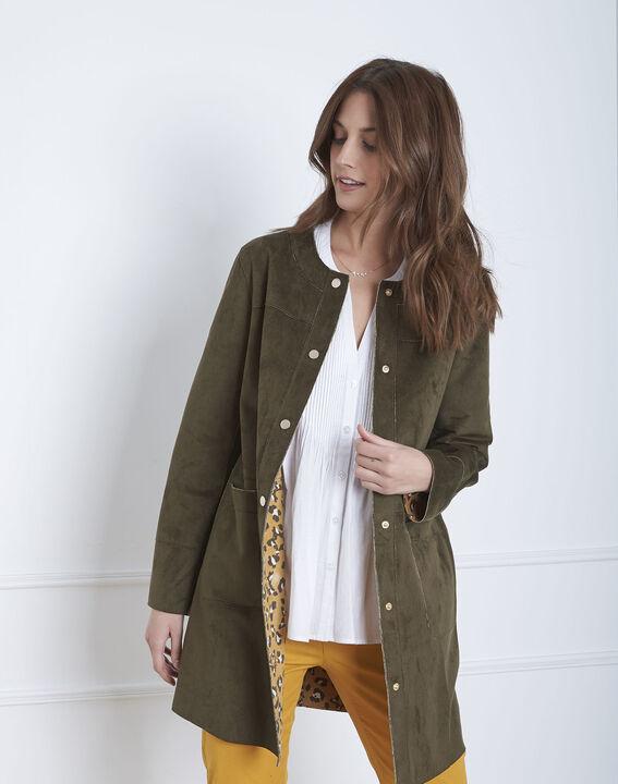 Fabiana khaki leather effect coat (2) - Maison 123