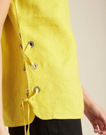 Top jaune en lin à lacets gally citron.