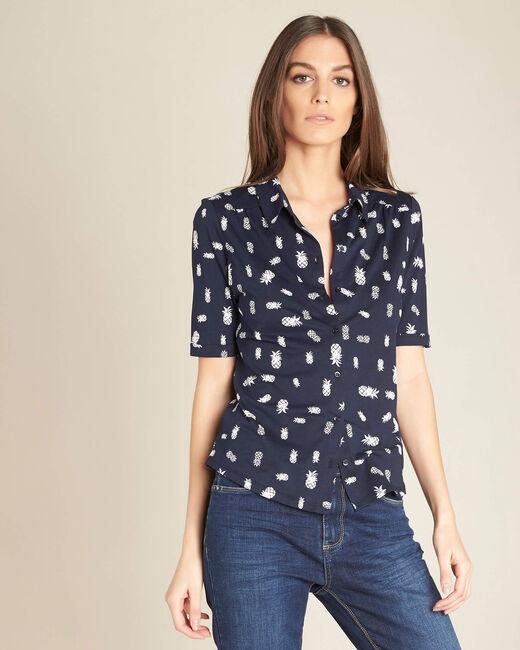 Tee-shirt marine imprimé Ananas Enanas (2) - 1-2-3