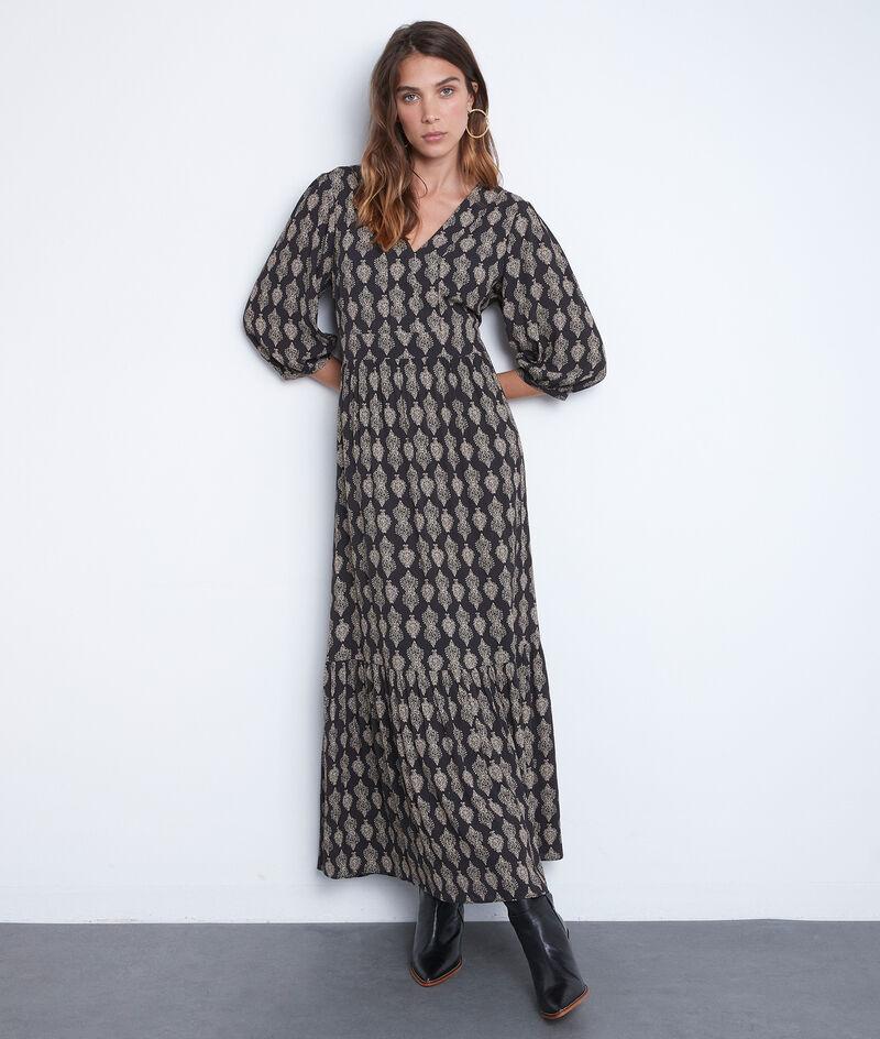 Robe longue fluide imprimée noire et blanche Ludine PhotoZ | 1-2-3
