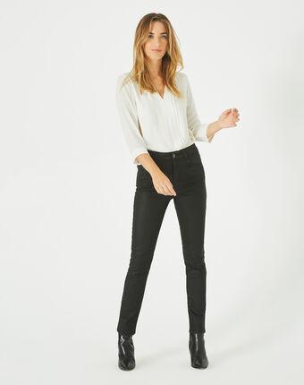 Oliver ⅞-length, coated black jeans black.